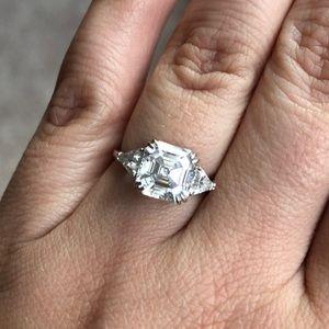 3ct Asscher cut CZ engagement ring